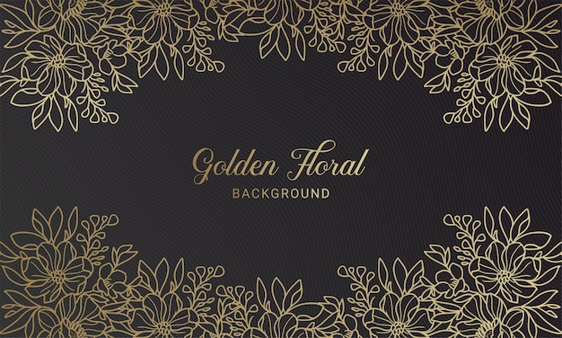 Fondo disegnato a mano elegante della foglia della pianta floreale dell'oro e nero