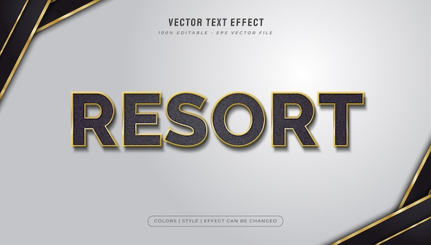 Elegante stile di testo nero e oro con effetto texture Vettore Premium