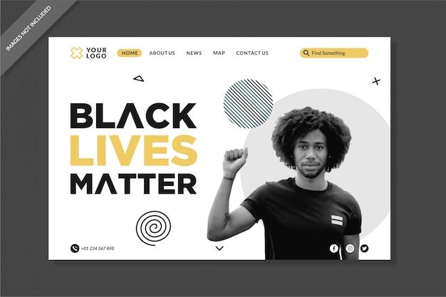 Modello di pagine di destinazione elegante nero live matters