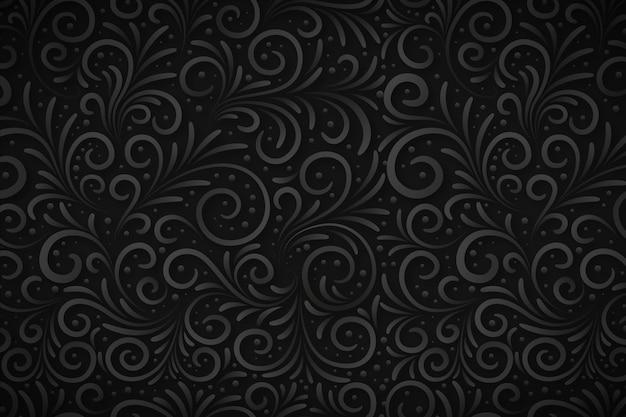 Elegante sfondo nero fiore ornamentale Vettore Premium
