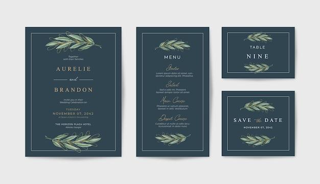Modello di invito matrimonio nero elegante con belle foglie