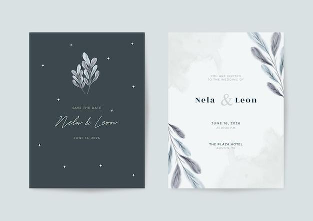 Elegante modello di partecipazione di nozze in bianco e nero
