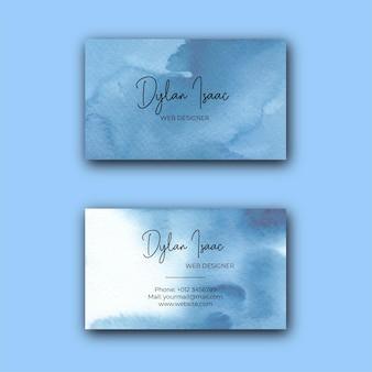 Modello di biglietto da visita dell'acquerello astratto blu elegante