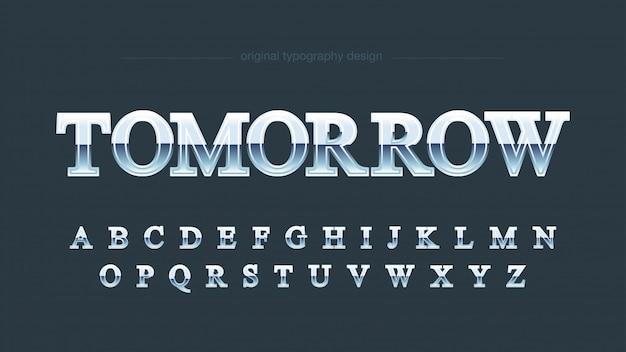 Elegante tipografia serif cromata blu