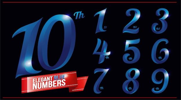 Eleganti numeri cromati in metallo colorato blu. 1, 2, 3, 4, 5, 6, 7, 8, 9, 10, logo