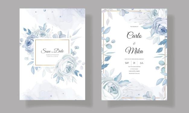 Elegante modello di invito a nozze floreale blu