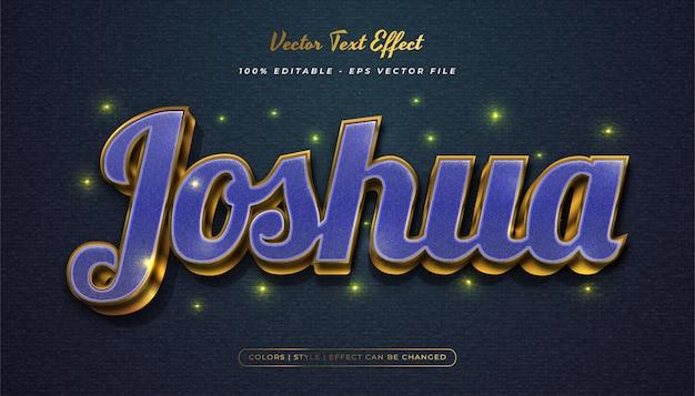 Elegante stile di testo blu e oro con effetto texture Vettore Premium