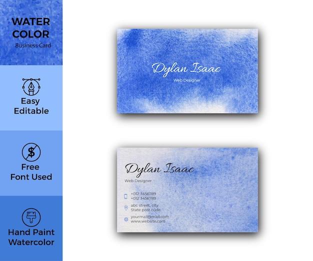 Modello di biglietto da visita dell'acquerello blu elegante
