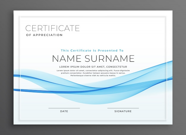 Elegante design blu certificato diploma d'onda