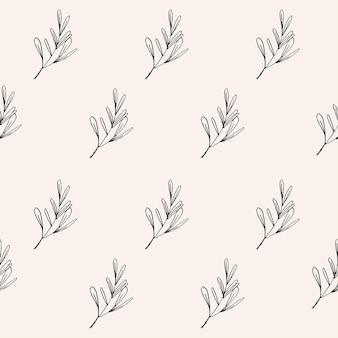 Modello senza cuciture disegnato a mano botanico elegante carta da parati floreale alla moda della natura