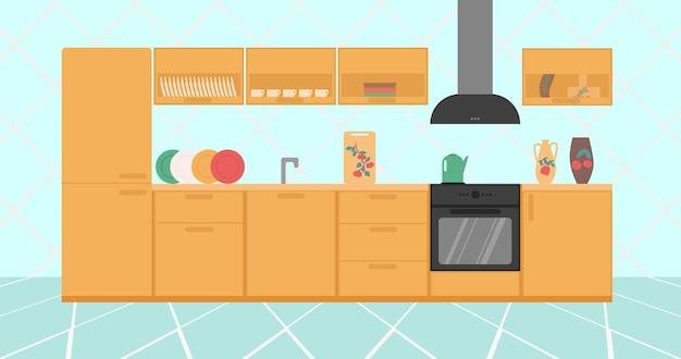 Interni eleganti e luminosi della cucina con pentole e attrezzature