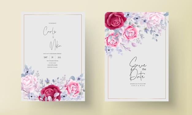 Borgogna elegante una carta di invito a nozze acquerello floreale viola