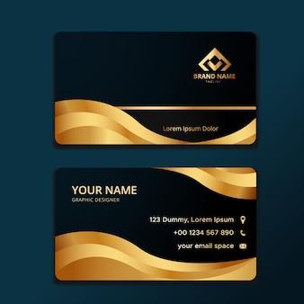Modello di biglietto da visita elegante con forma ondulata d'oro