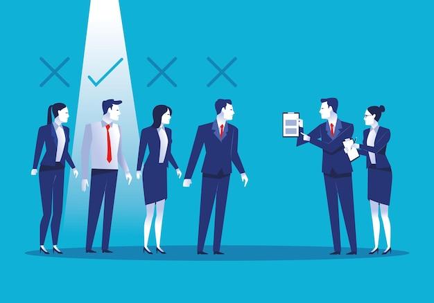 Elegante business persone lavoratori avatar caratteri illustrazione