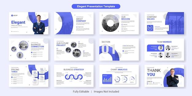 Insieme di progettazione del modello di diapositiva di presentazione aziendale elegante