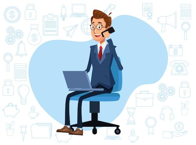 Uomo d'affari elegante che utilizza smartphone e computer portatile nella sedia