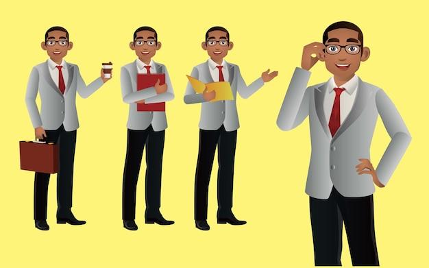 Elegante uomo d'affari con diverse pose.