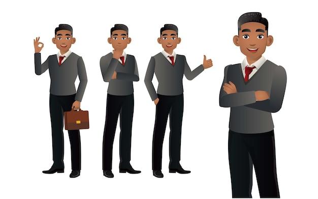 Elegante uomo d'affari con diverse pose