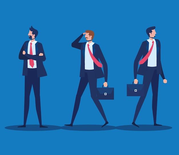 Caratteri dei lavoratori degli uomini d'affari eleganti nel disegno dell'illustrazione di vettore della parete blu