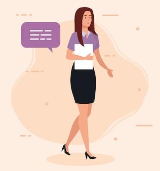 Elegante imprenditrice con documento e discorso bolla illustrazione design