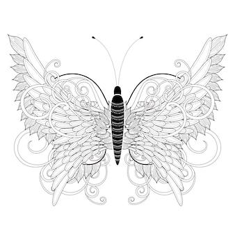 Pagina da colorare elegante farfalla in stile squisito