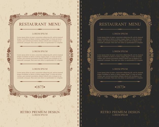 Elegante cornice calligrafica con menu del ristorante di testo.