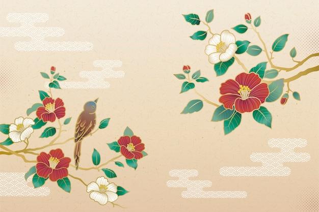 Elegante camelia e sfondo di uccelli con copia spazio