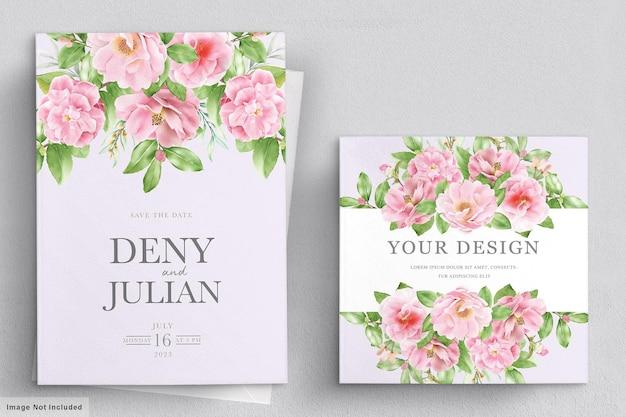 Modello di carta di invito matrimonio floreale elegante camelia