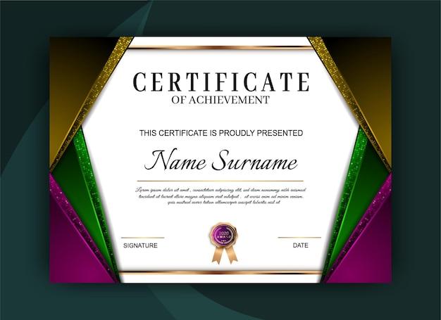 Elegante certificato di realizzazione del modello di progettazione