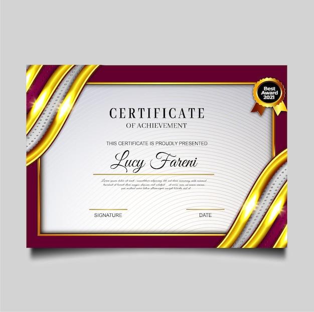 Design elegante del modello di conseguimento del certificato