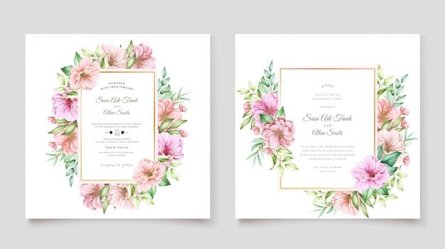 Modello di carta di invito elegante fiore di ciliegio