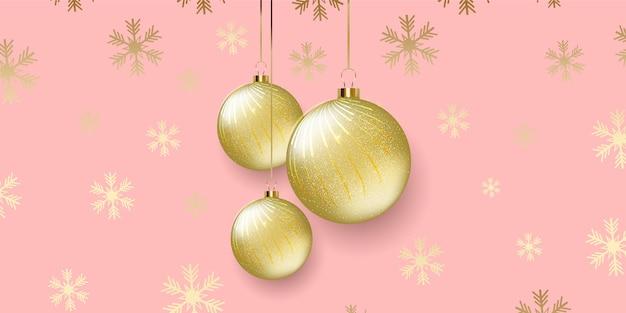Design elegante banner natalizio con palline appese