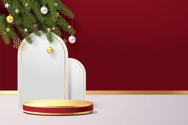 Elegante scena di natale. forma del podio per l'esposizione del prodotto spettacolo. piedistallo o piattaforma del palco. 3d realistico