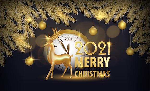 Natale elegante con brillanti rami di abete dorato