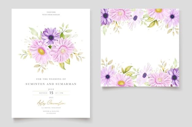Elegante biglietto d'invito ad acquerello con crisantemo