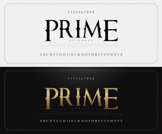 Elegante alfabeto classico lettere carattere e numero