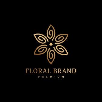 Elegante classico fiore d'oro con petali floreali icona logo