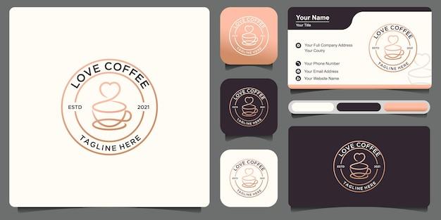 Elegante caffè logo design vintage, vettore premium