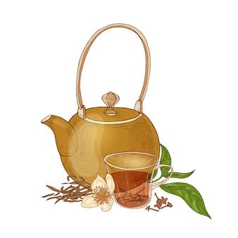 Elegante composizione con teiera, tazza di tè nero, chiodi di garofano e fiori di vaniglia e foglie isolate su bianco.