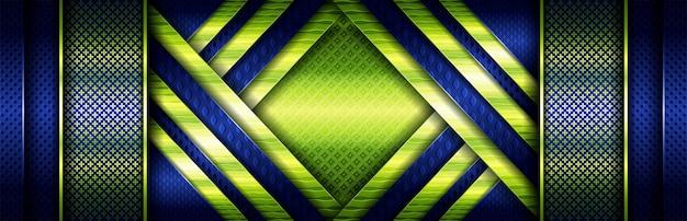 Elegante concetto verde brillante con particelle luminose su blu scuro
