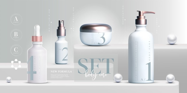 Set di prodotti cosmetici eleganti.