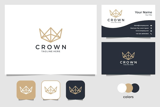 Elegante corona con design del logo line art e biglietto da visita