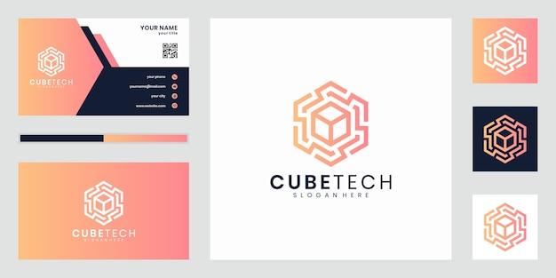Elegante ispirazione per il design del logo cube tech. design del logo e biglietto da visita