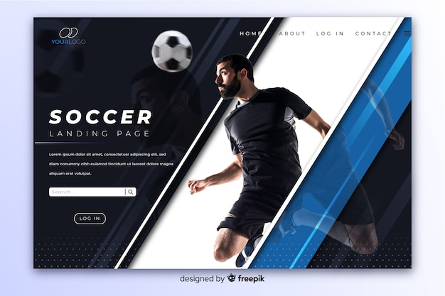 Pagina di destinazione elegante sport scuro con foto e riflessione Vettore Premium