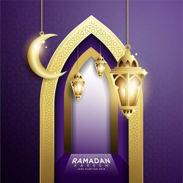 Design elegante di ramadan kareem background