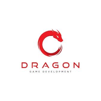 Concetto di drago elegante per il logo del gioco