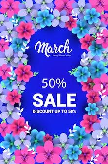 Elegante otto numero forma womens giorno 8 marzo festa celebrazione vendita banner flyer o biglietto di auguri con fiori illustrazione verticale Vettore Premium