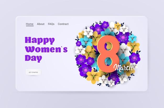 Elegante otto numero womens giorno 8 marzo festa celebrazione banner flyer o biglietto di auguri con fiori illustrazione orizzontale