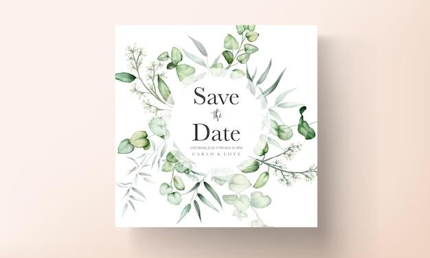 Elegante biglietto d'invito per matrimonio ad acquerello con foglie di eucalipto
