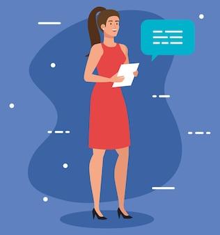 Elegante imprenditrice esecutiva con disegno di illustrazione di documento e fumetto
